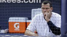 New York Yankees' Alex Rodriguez sits in the dugout after striking out in the second inning of Game 2 of the American League championship series against the Detroit Tigers on Sunday, Oct. 14, 2012, in New York. (Associated Press)