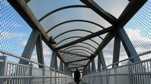 Pape Avenue walkway over rail tracks. (Dave LeBlanc)