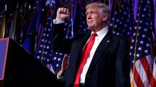 President-elect Donald Trump pumps his fist during an election night rally, Wednesday, Nov. 9, 2016, in New York. (AP Photo/ Evan Vucci)