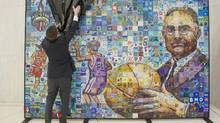 A mural created by Alberta artist Lewis Lavoie unveiled at BMO's Toronto offices on Tuesday, Feb. 9, 2016 ahead of the NBA's All-Star Weekend. (Chris Young/THE CANADIAN PRESS)