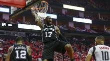 San Antonio Spurs guard Jonathon Simmons dunks during the third quarter against the Houston Rockets in Game 6 of the second round of the 2017 NBA Playoffs at the Toyota Center in Houston, on May 11, 2017. (Troy Taormina/USA Today Sports)