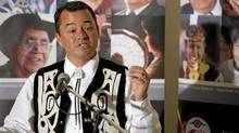 National Chief Shawn Atleo answers questions in Moncton, N.B., on July 12, 2011. (David Smith/THE CANADIAN PRESS)