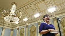 Leona Aglukkaq is sworn in as federal Environment Minister during a ceremony at Rideau Hall on July 15, 2013. (CHRIS WATTIE/REUTERS)