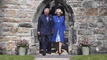 Britain's Prince Charles, left, and his wife Camilla, Duchess of Cornwall, are seen in Donegal, Ireland, on May 25, 2016. (CLODAGH KILCOYNE/REUTERS)