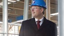 Prime Minister Stephen Harper visits the construction site of Sheridan College's campus in Mississauga, Ont., on Dec. 2, 2010. (Chris Young/THE CANADIAN PRESS)