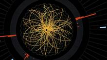 Images of proton collisions from the search for the Higgs boson particle. (CERN/The New York Times)