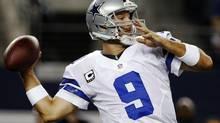 Dallas Cowboys quarterback Tony Romo (9) passes against the Philadelphia Eagles during the first half of an NFL football game, Sunday, Dec. 2, 2012, in Arlington, Texas. (Tony Gutierrez/AP)