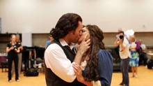 Joyce El-Khoury (Mimi) and Michael Fabiano (Rodolfo) rehearse a scene from La Boheme at National Arts Centre in Ottawa. (Dave Chan For The Globe and Mail)