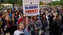 Protesters opposing Quebec tuition fee hikes demonstrate in Montreal, Sunday, May 27, 2012. (Graham Hughes/Graham Hughes/The Canadian Press)