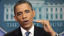 President Barack Obama talks about the ongoing budget negotiations. (Pablo Martinez Monsivais/AP)