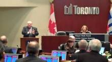 Mayor Rob Ford and Speaker Frances Nunziata at Toronto Council, Nov. 27, 2012, the day after a court ordered Ford's removal from office on conflict-of-interest charges. (Sol Chrom)
