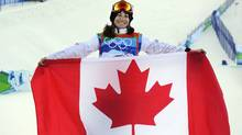 Canadian snowboarder Maelle Ricker after winning a gold medal in the women's snowboard cross event at Cypress Mountain. (Fred Lum/The Globe and Mail)