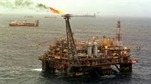 A Petrobras platform. Brazil's oil regulator says the country should auction 10 billion barrels of oil in November in the Subsalt Polygon, an area off the coast of Rio de Janeiro that makes up nearly all of the Campos and Santos Basins, where 80 per cent of Brazil's oil is already produced. (DOUGLAS ENGLE/ASSOCIATED PRESS)