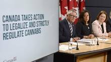 Minister of Public Safety Ralph Goodale, Justice Minister Jody Wilson-Raybould and Health Minister Jane Philpott announce changes regarding the legalization of marijuana during a news conference in Ottawa on Thursday. (Adrian Wyld/The Canadian Press)