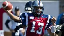 Montreal Alouettes quarterback Anthony Calvillo fires a pass against the Toronto Argonauts. (Paul Chiasson/The Canadian Press)