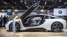 A BMW i8 on display at the Vancouver International Auto Show in Vancouver, B.C., on March 24, 2015. (Jimmy Jeong For The Globe and Mail)
