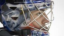 Montreal Canadiens goalie Carey Price keeps an eye on the action during a practice, Tuesday, April 14, 2009 in Brossard, Que. The Canadiens will face the Boston Bruins in game one of the first round NHL playoffs Thursday in Boston. THE CANADIAN PRESS/Paul Chiasson (Paul Chiasson)