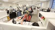 Manulife's open concept work space in its Toronto headquarters. (Glenn Lowson For The Globe and Mail)