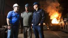 Rick Gibbs, right, owner and president of Neutron Factory Works, must compete with Alberta's oil patch to hang on to his crew of electricians, millwrights and programmers. Pictured with him are Eric Hasselmann, left, owner of Century Pacific Foundry, and melting supervisor Harjinder Atwal, in Surrey, B.C. (Ben Nelms For The Globe and Mail)