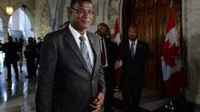 Rufus Ewing, Premier of the Turks and Caicos, in the foyer of the House of Commons in Ottawa on Monday. (Sean Kilpatrick/THE CANADIAN PRESS)