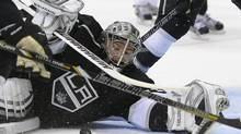 Los Angeles Kings goalie Jonathan Quick makes a save against the San Jose Sharks during the third period in Game 7 of the Western Conference semifinals in the NHL hockey Stanley Cup playoffs, Tuesday, May 28, 2013, in Los Angeles. (Mark J. Terrill/AP)