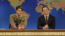 Bill Hader, left, portrays the character Stefon alongside Seth Meyers during a skit from Saturday Night Live. (Dana Edelson/AP)