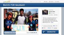 A screenshot of a crowdfunding campaign for Jeff Bauman, who lost both his legs in the Boston Marathon bombings.