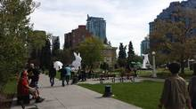 The renovated Central Memorial Park has become the hub of Calgary's burgeoning Beltline area. (D'Arcy McGovern For The Globe and Mail)