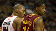 Toronto Raptors centre Jamaal Magloire lines up against Brampton, Ont., native Tristan Thompson, who is in his rookie campaign with the Cleveland Cavaliers. (Frank Gunn/The Canadian Press/Frank Gunn/The Canadian Press)