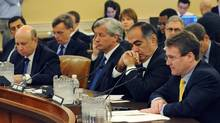 Top executives from Goldman Sachs, JPMorgan Chase, Morgan Stanley and Bank of America testify during the first public hearing of the Financial Crisis Inquiry Commission on Jan. 13, 2010, in Washington.