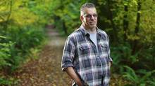 Garvin Eddy, an environmentally responsible set designer, stands in Pacific Spirit Park in Vancouver, Oct. 22, 2012. He works in hollywood and advocates for the use of responsible wood in set design. (Jeff Vinnick for The Globe and Mail)