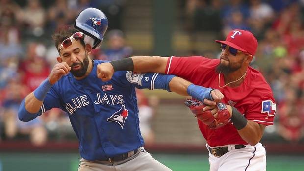 Punch up: Dust-up between Blue Jays and Rangers was seven months in the making - The Globe and Mail