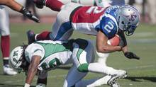 Running back Brandon Whitaker blew out a knee last September, but he is ready to help the Montreal Alouettes seek a second straight win to start the CFL season. Whitaker was the league's rushing leader in 2011. (Graham Hughes/THE CANADIAN PRESS)