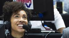 Meghan McPeak does play-by-play for the Raptors 905 team in Mississauga, Ont., on Wednesday, January 25, 2017. (Nathan Denette/THE CANADIAN PRESS)