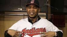 Edwin Encarnacion smiles wearing his new Cleveland Indians jersey on Jan. 5, 2017. (Tony Dejak/AP)