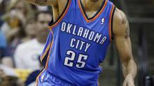 FILE - In this April 24, 2014 file photo, Oklahoma City Thunder guard Thabo Sefolosha celebrates after scoring against the Memphis Grizzlies in the first half of Game 3 of an opening-round NBA basketball playoff series game in Memphis, Tenn. (Mark Humphrey/AP)
