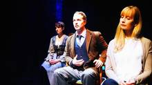 From left: Arlin Dixon, Craig Pike and Julia Course deliver three monologues across three different time periods in the play Fishskin Trousers.