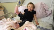 Reese Hawkins, 22 months old, has been diagnosed with leukemia and is at Toronto's Hospital for Sick Children to receive a stem-cell transplant. She will undergo eight days of chemotherapy before her transplant. (Fred Lum/Fred Lum/The Globe and Mail)