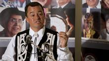 National Chief Shawn Atleo answers questions from the media during a press conference at the 32nd Annual General Assembly of the Assembly of First Nations in Moncton, NB on Tuesday, July 12, 2011. (David Smith/The Canadian Press/David Smith/The Canadian Press)