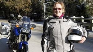 Liz Jansen with her motorcycle in Orangeville, ON. (2011 file photo)