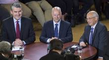 Nova Scotia Liberal leader Stephen McNeil, Progressive Conservative leader Jamie Baillie and NDP leader Gary Burrill participate in a leaders roundtable at Saint Mary's University in Halifax, on May 25, 2017. (Andrew Vaughan/THE CANADIAN PRESS)