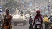 A UN peacekeeping patrol drives through the eastern Congolese city of Goma on July 23, 2012. (James Akena/REUTERS)
