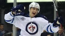 Winnipeg Jets centre Mark Scheifele (55) celebrates his second period goal against the Toronto Maple Leafs at the Air Canada Centre. (Tom Szczerbowski-US PRESSWIRE/US PRESSWIRE)