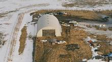 An aerial view of the scene where four RCMP officers were killed by James Roszko is shown in this evidence photo released at the Mayerthorpe inquiry Thursday, January 13, 2011. (THE CANADIAN PRESS)