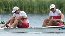 Canada's David Calder, right, and Scott Frandsen race in the men's pair final at Eton Dorney during the 2012 Summer Olympics in Dorney, England on Friday, August 3, 2012. Canada placed sixth. (The Canadian Press)