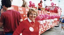 Joan Smith ran her 1985 election campaign with the tag line 'Run, Joan, Run,' which she did in red running shoes, racing from one end of the London South riding to the other, which she eventually won.