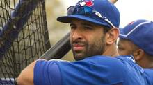Toronto Blue Jays slugger Jose Bautista keeps an eye on the action at Jays Spring Training in Dunedin, Fla. on February 23, 2012. (Frank Gunn/The Canadian Press/Frank Gunn/The Canadian Press)
