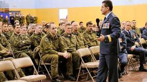 Lieutenant-General André Deschamps, Chief of the Air Staff, addresses the military community in the south side gym at 8 Wing Trenton, on 15 Jan 2010.