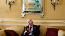 Governor General David Johnston gesture during an interview at Rideau Hall February 19, 2014 in Ottawa. (Dave Chan For The Globe and Mail)