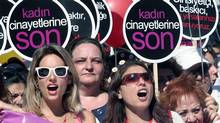 Turkish women march to protest the government's plans to ban abortion in Turkey, in Ankara, Turkey, Sunday, June 17, 2012. (AP)
